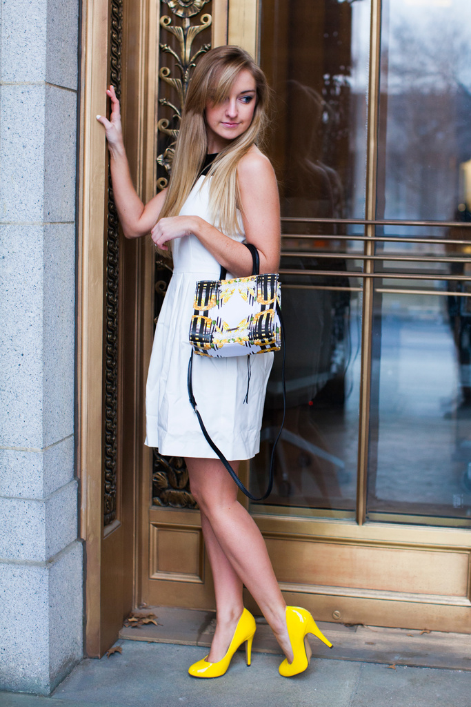 Black and white dress with neon yellow shoes