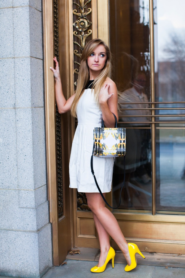 Sets and Sequins Blog: Black White and Bold - White Dress with Black Mesh Top from 6pm.com Rebecca Minkoff Floral MAB Tote Mini Spring 2013 Collection Bright Yellow Pumps Pop Color Stripes Glamour Gold Door Blonde Dressy Fashion Style Beauty Straight Hair Street Style City Look book day out chic st. louis missouri photography photographer erin stubblefield modeled by blogger SARAH BOURNE in 2014