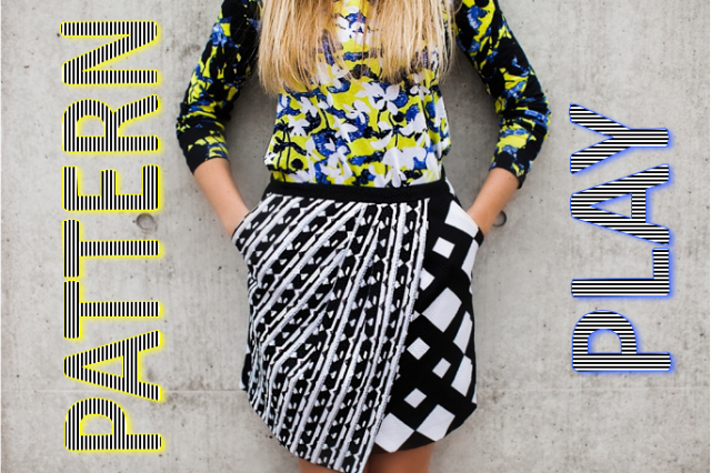 Sarah Bourne - Sets and Sequins {A fitness and fashion blog} - Pattern Play in the Peter Pilotto for Target Collection - Graphic top shirt, Black and white geometric print skirt, black and white pumps heels, photos taken by Erin Stubblefield Weddings & Portraiture at the Contemporary Art Museum of St. Louis - fashion, outfit, blonde, blogger, bright, summer dressing